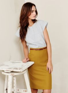 Mustard Skirt. What to wear with your belt, outfit three.