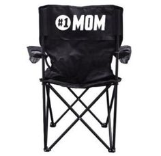 #1 Mom Black Folding Camping Chair with Carry Bag