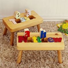 Personalized Wooden Name Puzzle Stool - This hand crafted sturdy stool, features your child's name cut out in brightly colored puzzle pieces to encourage letter and color recognition, reading and other developmental milestones.