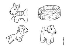 Karens Kravlenisser. Cut-outs and Colouring Pages. : Dogs Cut-outs to Print and Colour. Hunde klippeark til at printe og farvelægge.