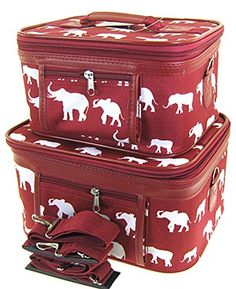 Elephant Print 2 Piece Train Case Cosmetic Set Travel Toiletry Luggage Review