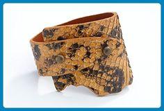 Genuine Anaconda Wide-Wrap Luxury Bracelet in Sand (Tan) - Exotic Leather - Wedding bracelets (*Amazon Partner-Link)
