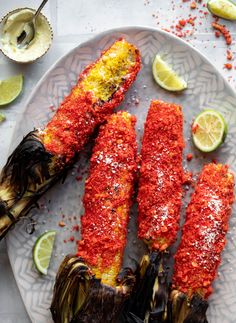 This hot cheetos grilled corn is amazing. Charred, smoky grilled corn slathered in cotija cheese mayo and rolled through crushed flaming hot cheetos. Yum! Cheetos, Side Dish Recipes, Easy Dinner Recipes, Vegetable Recipes, My Favorite Food, Favorite Recipes, Cupcakes, Best Comfort Food, Good Enough To Eat