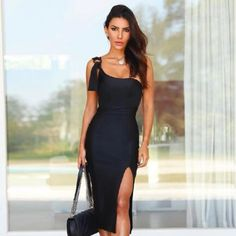 One Shoulder Sexy Sleeveless Bodycon Runway Party Dress #Bodycondress #spring2021 #Womenoutfits #fashion #likeforlike #comment #followforfollow Cheap Dresses, Elegant Dresses, Sexy Dresses, Christmas Party Outfits, Long Sleeve Evening Dresses, Latest Fashion Dresses, Spring Fashion, One Shoulder, Shoulder Dress