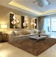 Art Orchid Canvas Oil Painting Poster living room pictures on the wall Modular pictures Print 3pcs No FRame