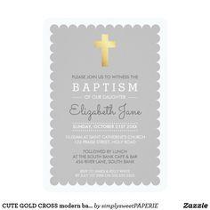 CUTE GOLD CROSS modern baptism scalloped edge grey #zazzle #shopping #zazzlemade #zazzleproducts #baptisminvites #christeninginvites #baptisminvitation #cuteinvites #moderninvites #celebrategod #printedinvitation #invites #invitations