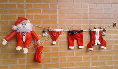 Blog Artes Leca - Decoração de Natal: Papai Noel de pijama com suas roupas no varal #artesanato #reciclagem #papainoel #SantaClaus #Natal #Christmas #roupinhas #varal #decoração #enfeites #enfeite #diy #criatividade