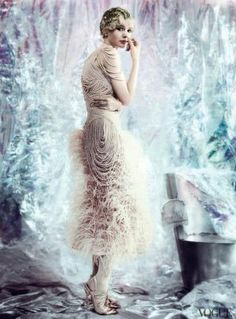 Carey Mulligan for Vogue May 2013. I love this Alexander McQueen dress and this whole photo spread.