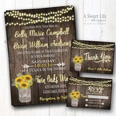 """SUNFLOWERS COLLECTION by ASweetLifeDesigns This beautiful sunflower themed invitation design package will set a warm and inviting tone for your rustic wedding! Its the perfect invite for a barn wedding, outdoor wedding, or a country wedding in any setting! Its adorned with sunflowers, string lights and a mason jar with a rustic barn wood background. This design can be modified to reflect your personal preference of wording. We can work together to make it perfect for you! In """"notes to…"""