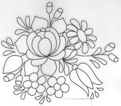 Embroidery Flower Patterns pattern for Bauernmalerei by Janet Lenton Embroidery Flowers Pattern, Crewel Embroidery, Hand Embroidery Designs, Ribbon Embroidery, Flower Patterns, Cross Stitch Embroidery, Embroidery Kits, Modern Embroidery, Embroidery Digitizing