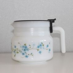 Vintage French milk glass coffee pot ARCOPAL by ohlalacamille