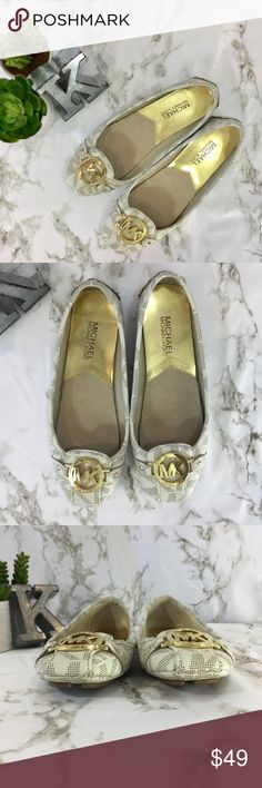 MICHAEL Michael Kors logo moccasins MICHAEL Michael Kors logo gold emblem moccasins. Size 6.5. Super comfortable. Excellent used condition.   Please ask any questions. Offers welcome. Thanks for shopping my closet! MICHAEL Michael Kors Shoes Flats & Loafers