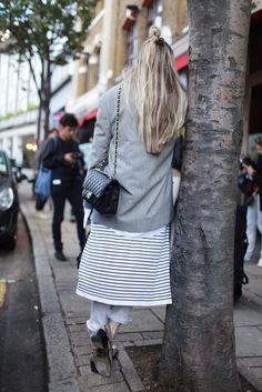 Layers - Stripes   London Fashion Week SS 2014   Street Style   Photo by Kuba Dabrowski   Source: wwd.com