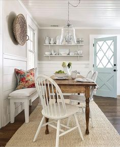 """This is PERFECTION! SO """"Jen!"""" """"This dining space is just so beautiful! I just love that gorgeous blue cottage door, not to mention how that stunning table is made from…"""" Rooms Ideas, Cottage Dining Rooms, Dining Room Walls, Gray Kitchen Walls, Sweet Home, Cottage Door, Country Farmhouse Decor, Country Charm, Farmhouse Style"""
