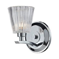 Elk Lighting 31162/1 Calais One Light Bath Bar, Polished Chrome by ELK Lighting. $86.48. Gently arched arms, in a Polished Chrome finish, smoothly transition to clear ribbed crystal shades. The unique contours and qualities of the crystal emit crisp, sparkling light when illuminated.. Save 39% Off!