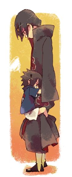 "Itachi and Sasuke. ""You're not allowed to leave."" this isn't sasuke and naruto but its just too cute :3"