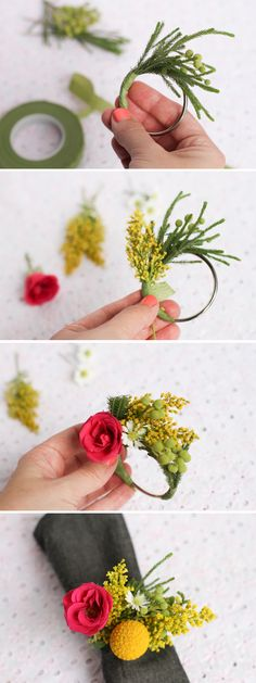 Servilletero con flores frescas >> wedding DIY // fresh flower napkin ring. What if.... the flower was felt, the gold ball was a yarn ball, and the rest was beaded with felt leaves?