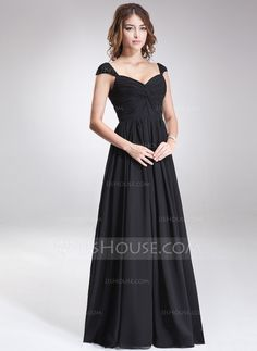 [R$ 452.80] Vestidos princesa/ Formato A Amada Longos Tecido de seda Vestido de madrinha com Pregueado Beading lantejoulas (007016866)