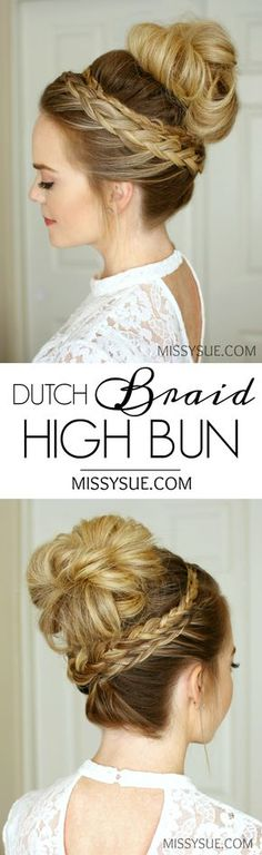 Dutch Braid High Bun