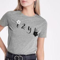 Petite grey marl 'me and you' print T-shirt - Print T-Shirts / Vests - T-Shirts & Vests - Tops - women
