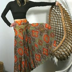 """Party offer $115 🌵 70s Dreamy Huge Palazzo Pants Hp offer $115 til  sun Thanks @thriftychicla for the HP Most amazing sheer pleated flowing wide leg 70s pants. Gorgeous psychedelic print. HUGE dramatic legs. Elephant pants.  Baby pleats. Back zip. So cool. Not sure I want to give them up.  Sheer but don't worry, they are lined waist to just below your bottom so the goods are covered. The Silver Needle Portland. Estimated fit s to small m. Waist 26"""". Hip 36"""". Length 38"""". Inseam 27"""" . Great…"""
