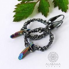 Wianki z kwarcem tytanowym - srebrne kolczyki koła / Alabama / Biżuteria / Kolczyki