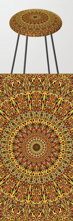 Spiritual Autumn Garden Mandala Bar Stool by davidzydd Mandala Bar, Flower Mandala, Counter Stools, Bar Stools, Bohostyle, Floral Design, Graphic Design, Autumn Garden, Sacred Geometry