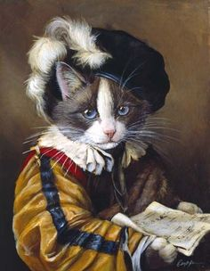 """Yoshi the Singer"" - Anthropomorphic cat art by Melina Copper I Love Cats, Crazy Cats, Cool Cats, Animal Gato, Fancy Cats, Gatos Cats, Cat People, Vintage Cat, Animal Paintings"