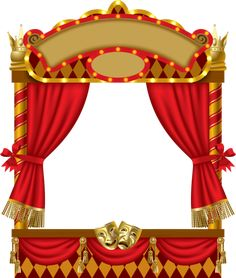 vector image of the illuminated puppet show booth with theater masks red curtain and signboards