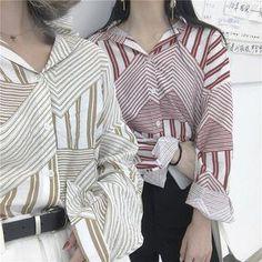 YesStyle - LINSI Striped Panel Shirt - AdoreWe.com