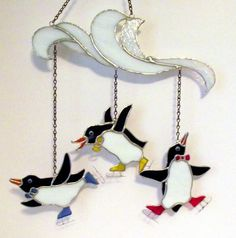 Three Ice Skating Penguins stained glass by Avalonstainedglass, $169.00