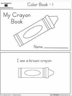 Crayon Colors Printable Book with 6 pages {free}