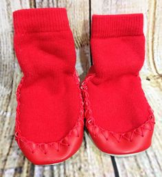 Hanna Andersson Baby Moccasins Solid Red Sz 1-2 Washable Leather Made in Sweden #HannaAndersson #Moccasins