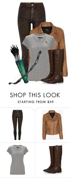 """Katniss Everdeen Costume"" by charmink on Polyvore featuring River Island, Barbara Bui, rag & bone, katnisseverdeen and halloweencostume"