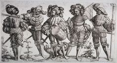 """As the Ottoman Islamic armies advanced towards Vienna in 1529, the city's population organised an ad-hoc resistance formed from local farmers, peasants and civilians determined to repel the inevitable attack. The defenders were supported by a variety of European mercenaries, namely German Landsknecht pikemen. [""""Five Landsknechte"""", Radierung von Daniel Hopfer, 1530]"""