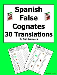 Spanish False Cognates Translations and Image IDs Worksheet by Sue Summers - Includes 30 words and 7 images for students to identify.
