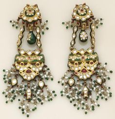 India | Contemporary white sapphire, freshwater cultured pearl, enamel and high karat gold earrings.