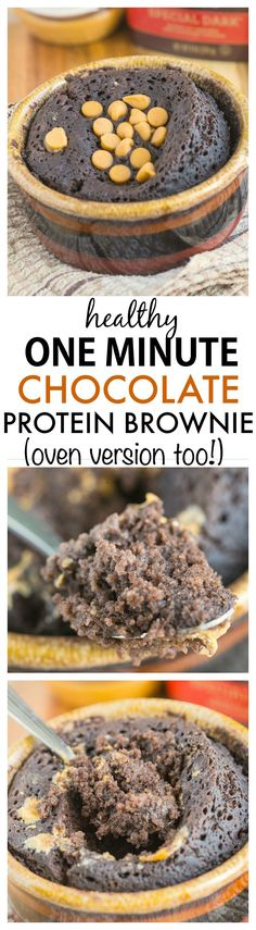 The ultimate healthy protein brownie- Fluffy, moist and ready in one minute, this protein packed brownie will satisfy your sweet tooth instantly! Vegan, gluten free and a tested paleo option- There is an oven version too! -thebigmansworld.com