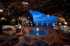 Dine inside a cave at the Hotel Grotta Palazzese in Polignano a Mare in Puglia, Italy, which is famous for its restaurant that sits in an original limestone cave. Description from businessinsider.com.au. I searched for this on bing.com/images