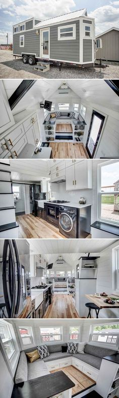 A modern tiny house with black stainless steel appliances, white quartz . A modern tiny house with black stainless steel appliances, white quartz countertops, and a raised couch platform with expansive storage space. Modern Tiny House, Tiny House Living, Tiny House Plans, Tiny House Design, Tiny House On Wheels, Home Design, Small Living, House 2, Tiny House Trailer
