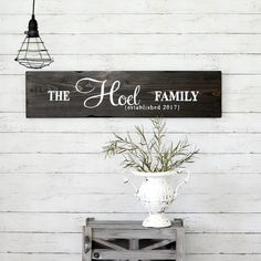 Unique family established hand-painted sign made from reclaimed barn wood by Aimee Weaver Designs Reclaimed Wood Signs, Barn Wood Signs, Painted Wood Signs, Wooden Signs, Hand Painted, Established Family Signs, Wood Artwork, Making Signs On Wood, Shabby