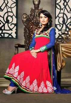Red Colored Designer Dress Material