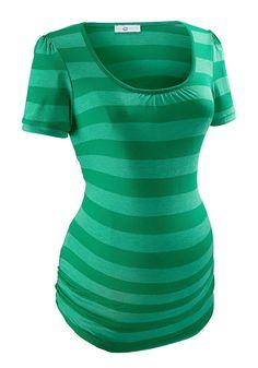 Produkttyp , T-Shirt, |Qualitätshinweise , Hautfreundlich Schadstoffgeprüft, |Materialzusammensetzung , Obermaterial: 75% Viskose, 25% Polyester, |Farbe , Grün, |Material , Jersey, |Passform , Figurumspielend, |Stil , Basic, |Optik , Gestreift, |Besondere Merkmale , Kleine Raffung am Ausschnitt, |Kragen , Ohne, |Bündchen , Angesetztes Bündchen, |Ausschnitt , Rundhals, |Ärmelstil , Puffärmel, |G...
