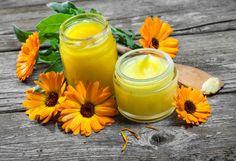 Calendula Tea, Salve Recipes, Medicinal Herbs, Oils For Skin, Natural Oils, Body Care, Creme, Coconut Oil, The Balm