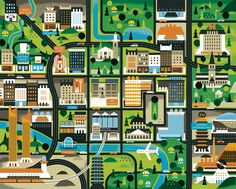 Mirabellicious ♥: All Mapped Out. 'Glasgow Map' by Khuan+Ktron for Intro Magazin. Design Thinking, Glasgow Map, Pictorial Maps, Travel Illustration, Information Graphics, Map Design, City Maps, Graphic Design Studios, Drawing Skills