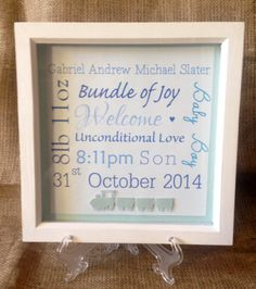 New baby boy personalised box frame gift by HLTInteriors on Etsy