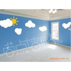 Romantic Cloud And Sun Wall Sticker Cartoon Sunshine Kids Room Living Home Tv Sofa Background Decor Fashion Diy Fairy Tale