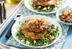 This zucchini fritter recipe is perfect for spice lovers. Served on a bed of fresh rocket with feta, it makes a fresh lunch or dinner - perfect to take to work. Lunch Recipes, Easy Dinner Recipes, Cooking Recipes, Sweet Recipes, Spicy Salsa, Zucchini Fritters, Vegetarian Entrees, Vegetable Dishes, Pasta Dishes