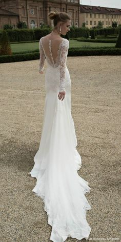 alessandra rinaudo bridal 2016 tracy illusion long sleeve wedding dress back view train
