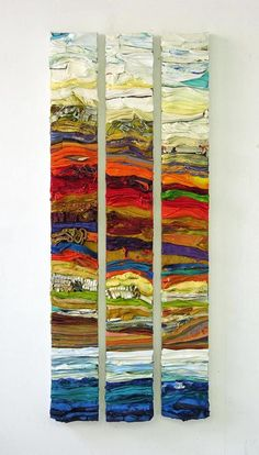 DAILY SERVING Building Up Layers An interview with Leslie Wayne i am am enamored of this piece triptych and much of her work Art Textile, Landscape Quilts, Encaustic Art, Art Moderne, Fabric Art, Art Techniques, Diy Art, Wood Art, Collage Art